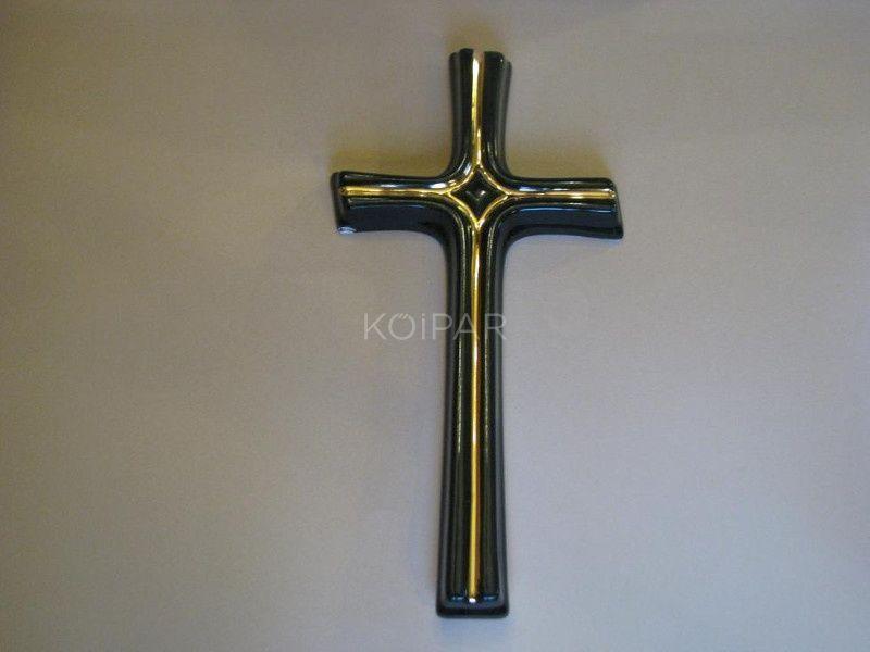 Fekete porcelán kereszt arany díszítéssel 30 cm