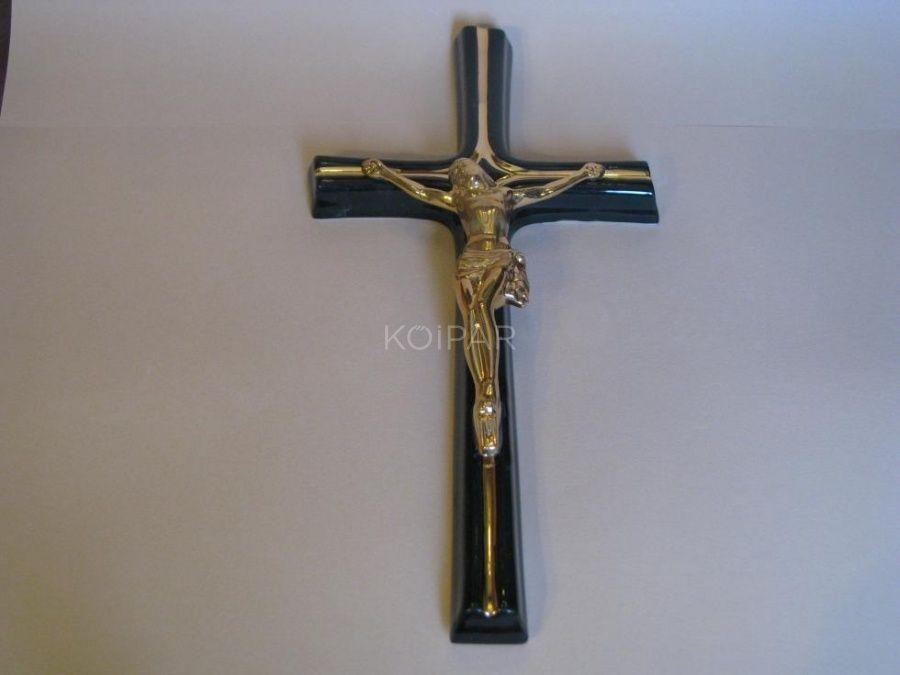 Fekete porcelán kereszt arany korpusszal 15 cm